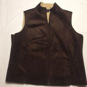 Lands End faux shearling brown vest sz 2X 20W-22W